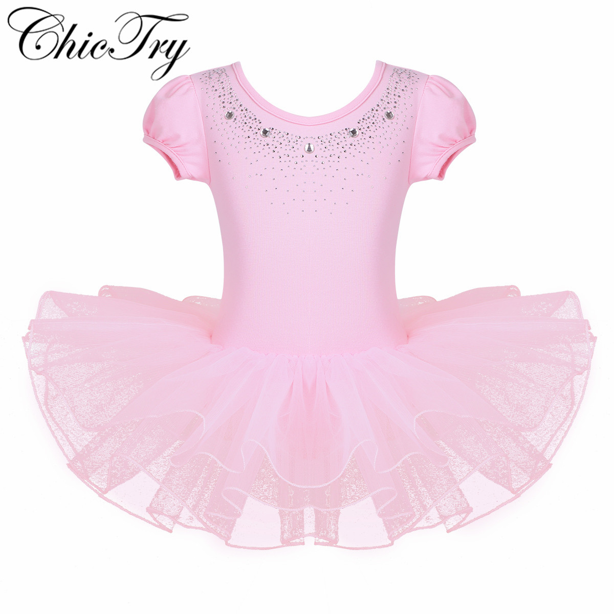 Kids Girls Mesh Short Bubble Sleeves Sparkly Rhinestones Ballet Dance Gymnastics Leotard Tulle Tutu Dress for Stage Performance