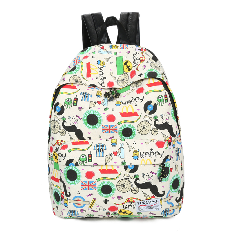2017 New Canvas Printing Backpacks Women Backpacks School Bags for Girls Schoolbag Student Book Bag Bolsas Mochilas Femininas