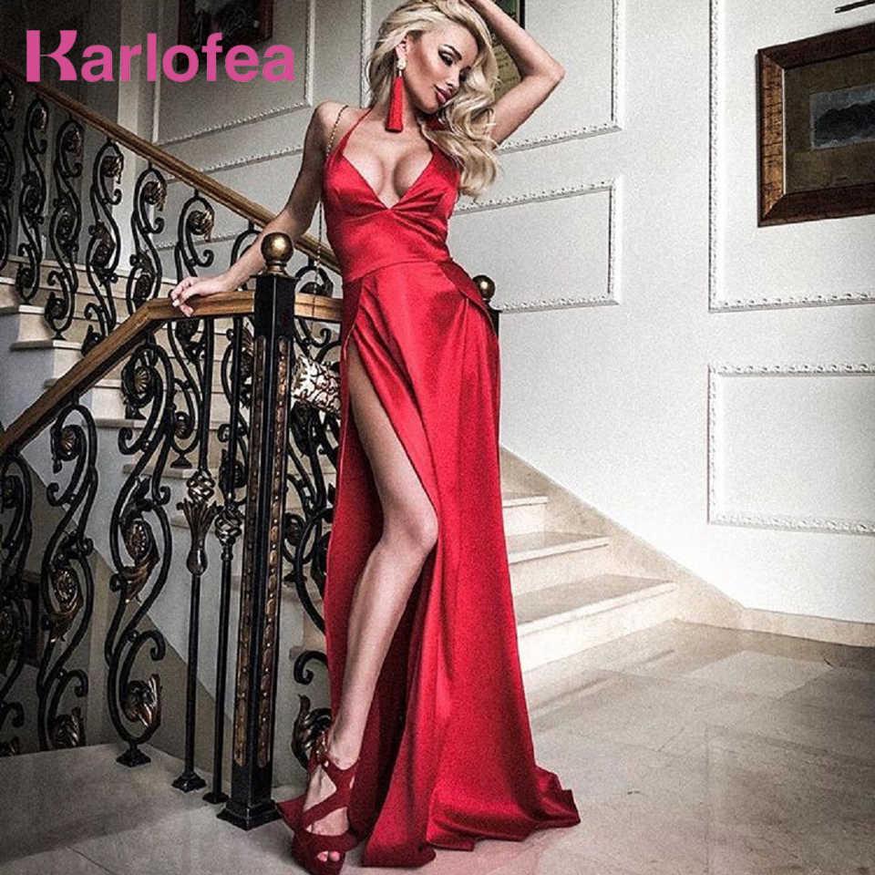 Karlofea Women Satin Maxi Dress Sexy Halter Deep V Neck Birthday Dress Red Evening  Party Silky 61736c025a50