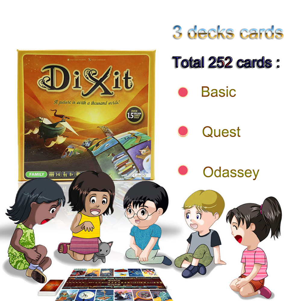 2018 Dixit 1 2 3 cards game English&Russian rules total 252 playing cards high quality wooden bunny for kids party board game соннентор чай имбирно фруктовый 100г