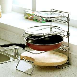 Pot Rack Stainless Steel Chopping Board 3 Shelf Rack Kitchen Storage Rack  Double Layer Rack Multifunctional