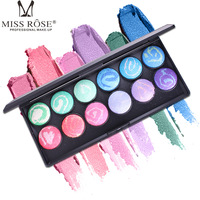 Miss Rose Baked Eye Shadow 12 Color Full Size Beauty Colorful Eyeshadow Makeup Kit Long Lasting