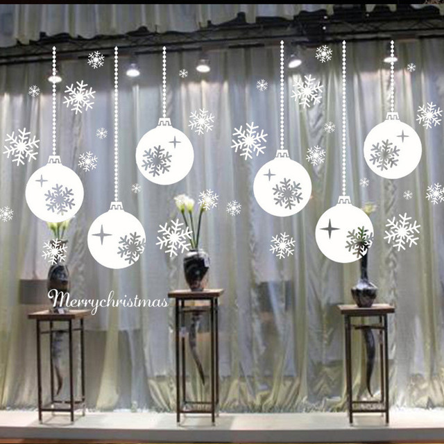 Snowflake christmas wall sticker decoration christmas snowflake window stickers bedroom living room wall stickers vinilos parede