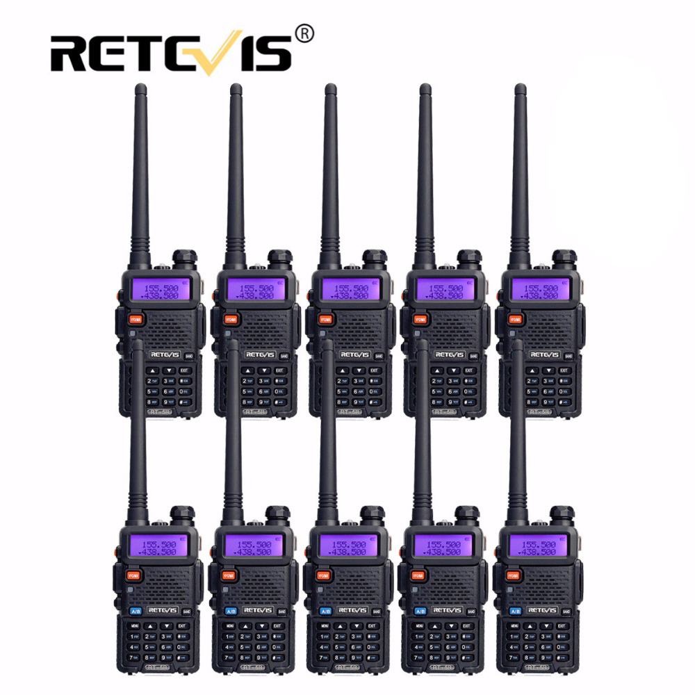 10pcs Cheap Retevis RT5R Walkie Talkie VHF UHF Dual Band VOX FM Frequency Portable cb Radio Station Hf Transceiver Walkie-Talkie