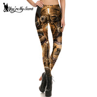 You Re My Secret 2017 Retro Design Leggings Women Comic Robot Steampunk Star Wars Leggin