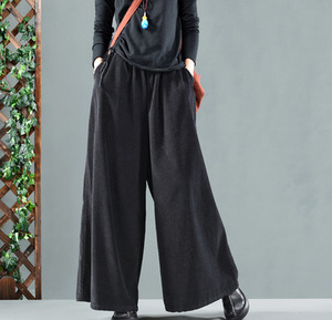 Image 5 - Autumn Winter Pants Retro Loose Women Trousers Elastic Waist pocket Solid color Corduroy Blended Female Casual Pants 2018