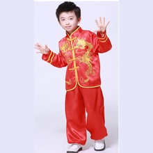 Boy Tai Chi Clothes Chinese Folk Dance costume Long Sleeve  kungfu Clothing Children's National Costumes Dance