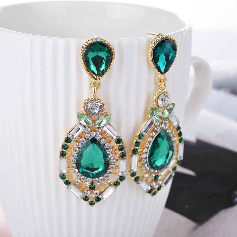 Fashion Jewelry sparkling earrings crystal big earrings for women Green/blue/rose  A037G