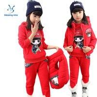 Kids Girls Clothes Winter Warm Fashion Childen Tracksuit Toddler Girl Clothing Set 2017 Sport Cartoon Hoodies