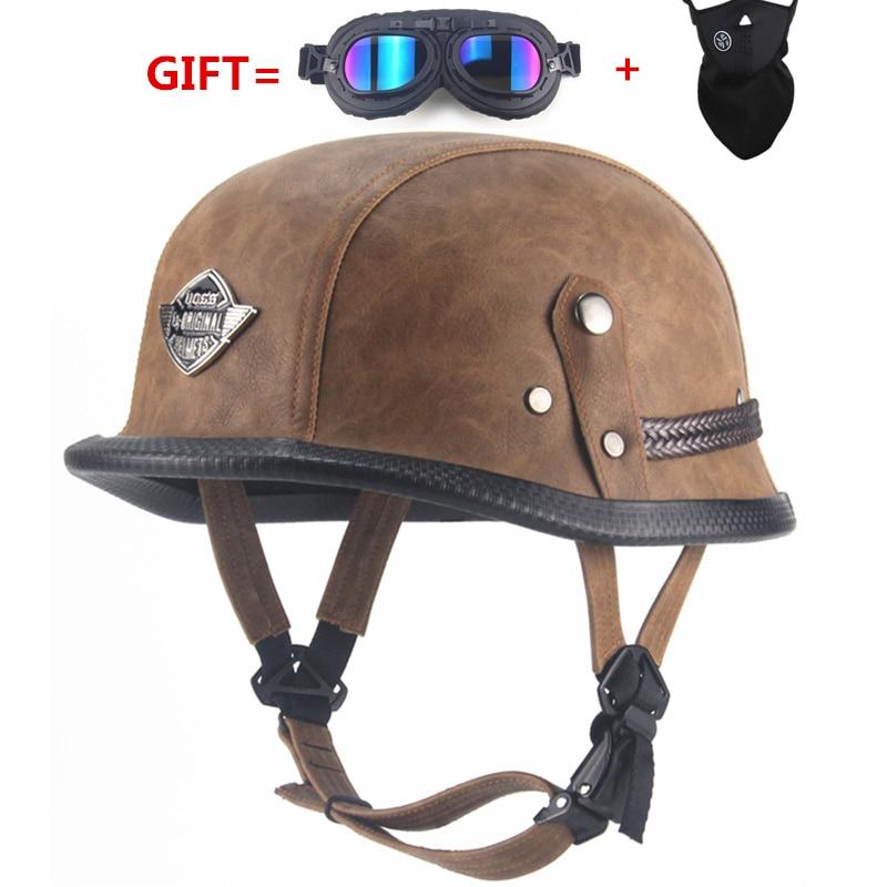 Casco Abierto de la Motocicleta Protecci/ón Cuero Retro de Vintage de Brown Estilo Ej/ército con Gafas