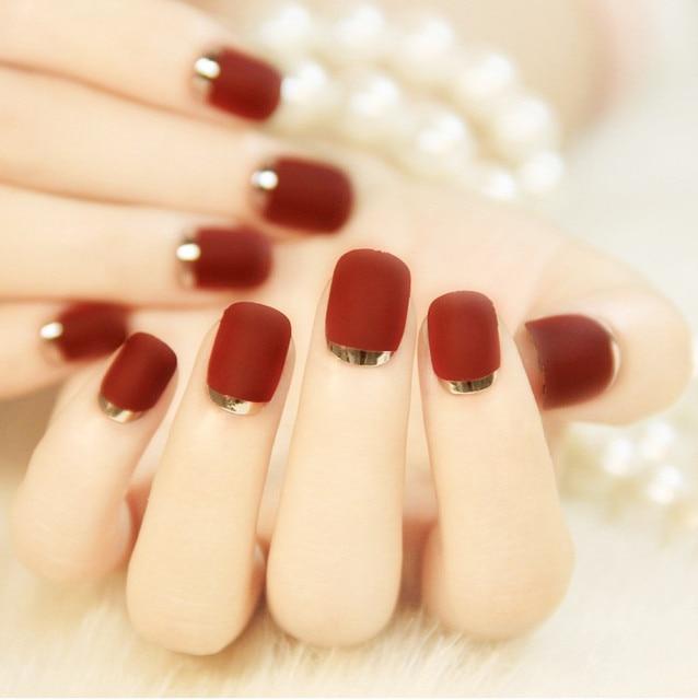 Fashion Fire Red Matte False Nail Tips Metal Manicure Short Full ...