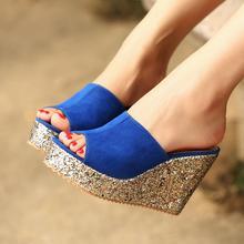 2015 Fashion Sequins High Heel Slippers Women Summer Shoes Suede Platform Sandals Ladies Wedges Sandals Brand Flip Flops