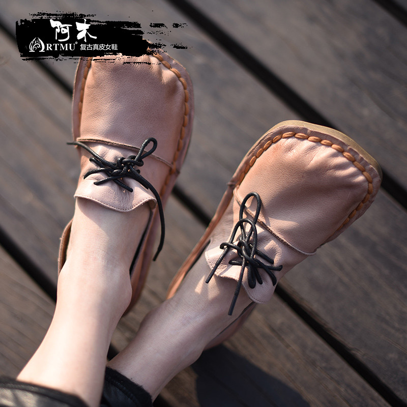 Artmu Original Spring New Flat Women Shoes Cowhide Soft Sole Genuine Leather Shoes Lace-up Handmade Square Toe Shoes Y21D8L sexemara new original handmade women genuine leather shoes lace soft cowhide loafers real skin ladies shoes driving female shoes