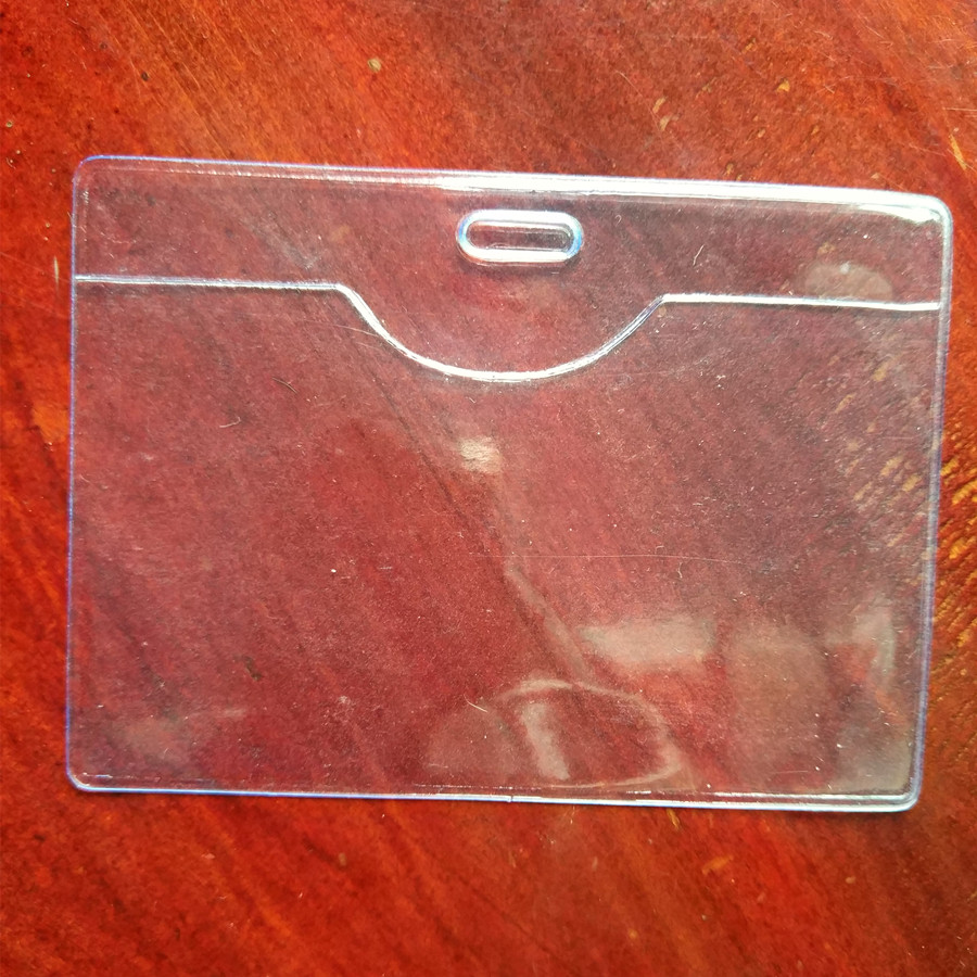 200Pcs Transverse Convenient Popular Clear PVC Badge Work Exhibition ID Name Waterproof Card Holders with Lanyard
