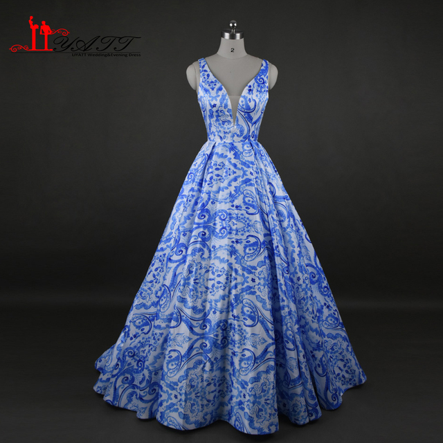 Elegant Long Evening Dresses Flowers Printed Sexy Deep V Neck Floral Prom  Dress 2017 Print Satin Ball Gown Party Dresses 5ad9bb1dcb03