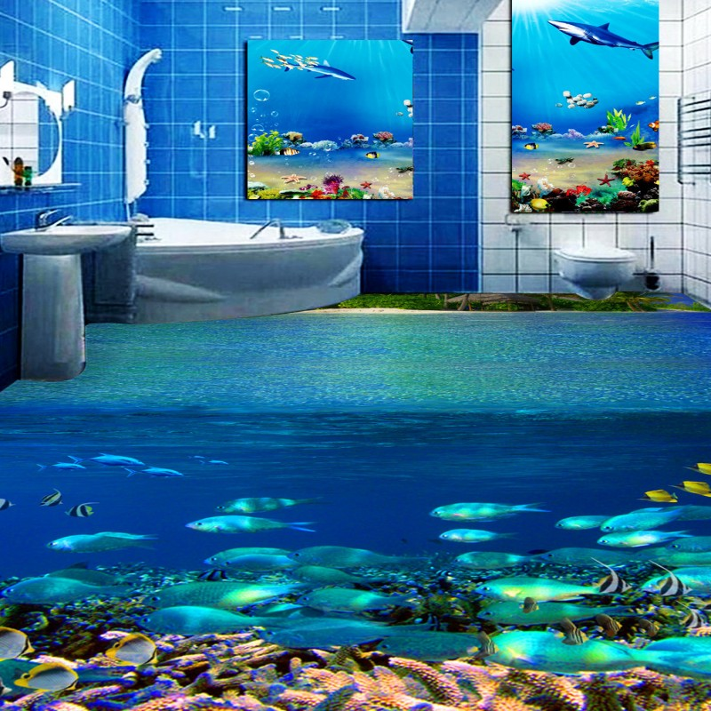 Free Shipping Underwater World Tropical Fish Toilets Bathroom Bedroom 3D Floor wear non-slip kitchen living room flooring mural free shipping ultra high definition water glass surface 3d floor non slip bedroom living room bathroom square flooring mural