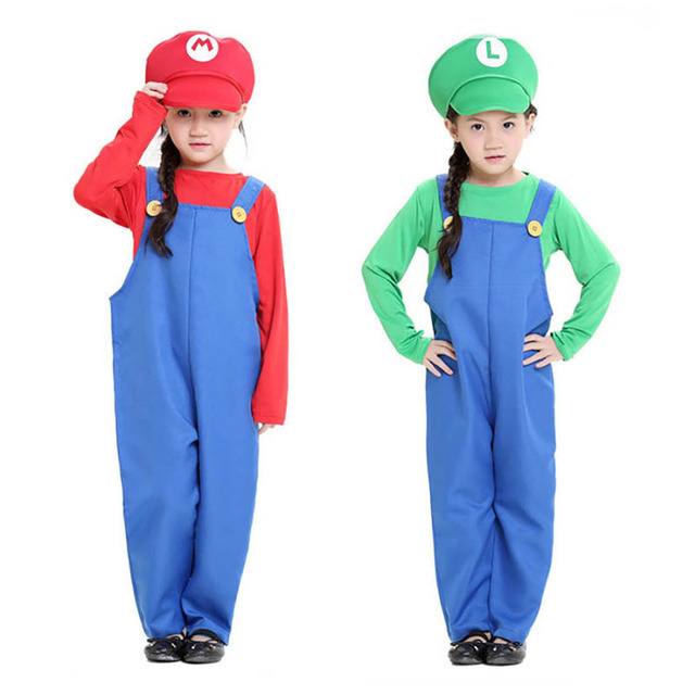 Kids Super Mario Costume Red Mario u0026 Green Luigi Cosplay Costume with Hat and Beard Fancy  sc 1 st  AliExpress.com & Kids Super Mario Costume Red Mario u0026 Green Luigi Cosplay Costume ...