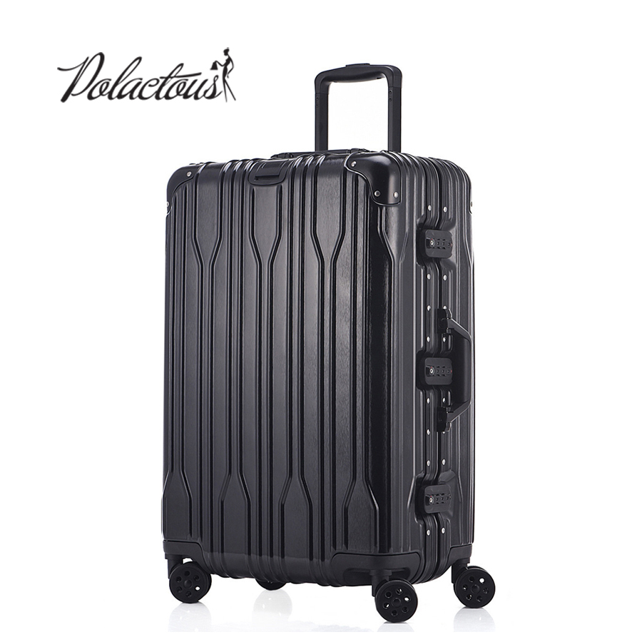 20 24 26 28 Aluminum frame and rods and PC TSA scratches travel trolley case rolling luggage suitcase with wheels vintage suitcase 20 26 pu leather travel suitcase scratch resistant rolling luggage bags suitcase with tsa lock