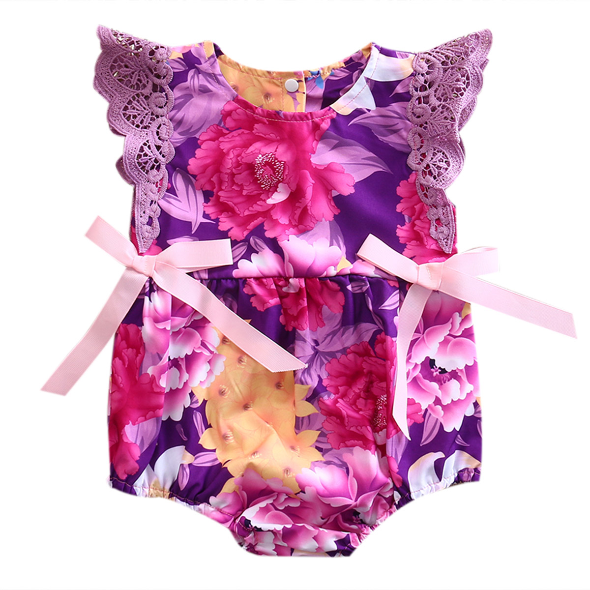 2017 Summer Newborn Baby Girl Romper Floral Purple Lace Romper Bownot Jumpsuit Outfit Sunsuit Clothes 2017 summer newborn baby girl white lace romper jumpsuit floral infant clothes outfit sunsuit