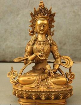 "bronze Pure Copper Old Qing Ming Brass  8"" Tibet Tantra Idol Bronze Gilt Vajrasattva Bodhisattva God Vajra Buddha Statue"