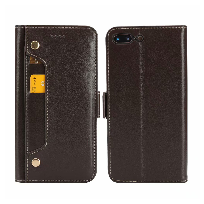 CKHB Real Genuine Leather Wallet Style Phone Case For iPhone 8 7 Plus 6S Plus Cell