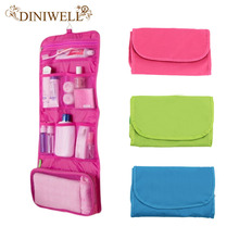 DINIWELL Womens Ladies Travel Toiletry Folding  Hanging Wash Cosmetic Makeup Storage Bag Portable Organizer For Outdoor Camping