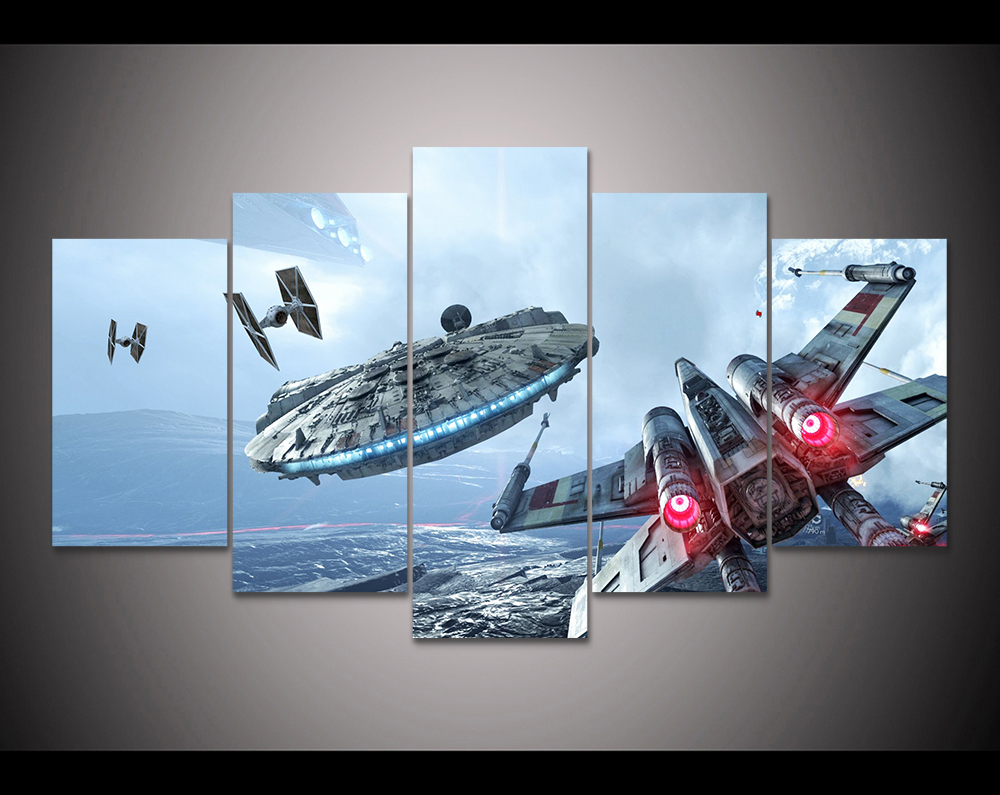 Great 5 Panels High Quality Frame Canvas Painting Decor Star Wars Wall Art  Painting Modern Home Decor