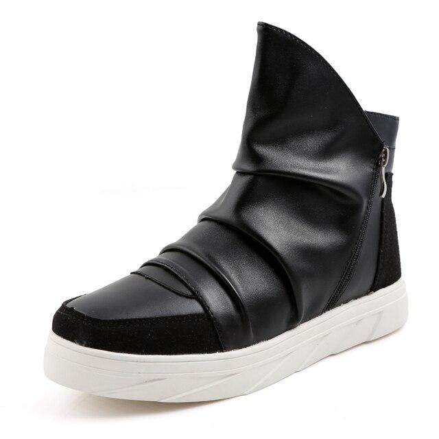 Высокое качество моды для мужчин ботильоны Весна осень удобные кожаные сапоги Случайные водонепроницаемый мужские спортивные туфли на платформе y28