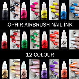 Image 5 - OPHIR 0.3mm Nail Art Airbrush Kit with Air Compressor 12 Color Inks 20 Airbrushing Stencils & Bag & Cleaning Brush Nail Tool Set