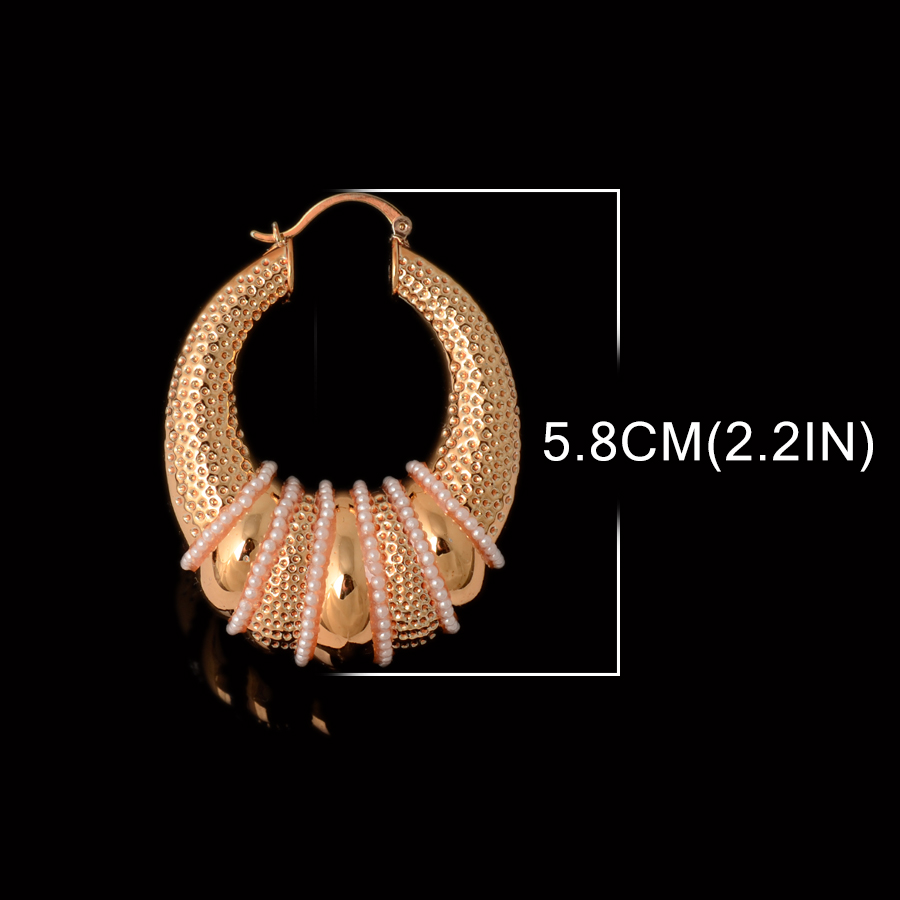 Aliexpress : Buy Big Pearl Earrings For Women Gold Plated Hoop Earings  Trendy Dubai African Party Wedding Jewelry Party Wedding Daily Wear Gift  From