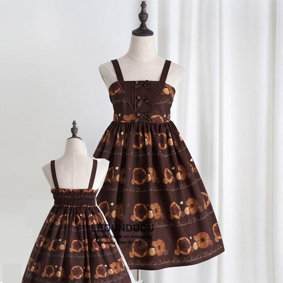 Doughnut Biscuit Cute Party Clothes Princess Sweet JSK Dress Women Lady Elastic Spaghetti Strap Lolita Dress + Shirts
