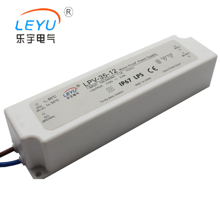 LPV-35 35w waterproof switching power supply unit 12v 24V single output 47~63hz with two years warranty meanwell 24v 60w ul certificated lpv series ip67 waterproof power supply 90 264v ac to 24v dc