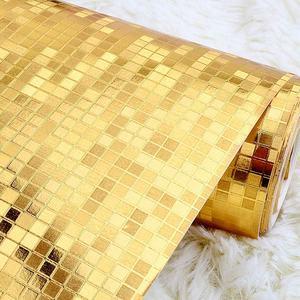 Image 2 - Luxo brilho mosaico papel de parede de fundo papel de parede da folha ouro prata teto cobrindo 3d