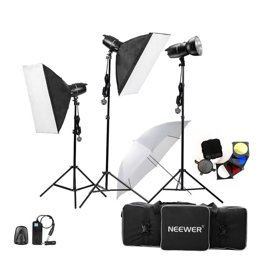 где купить Neewer 750W(250W x 3)Professional Photography Studio Flash Strobe Light Lighting Kit for Portrait Photography Studio Video shoot по лучшей цене