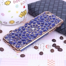 New Luxury 3D Electroplating Flowers Rhinestone Bling Soft TPU Phone Cases Cover For iPhone 7 7Plus 5 5G 5S SE 6 6G 6S 4.7 6Plus