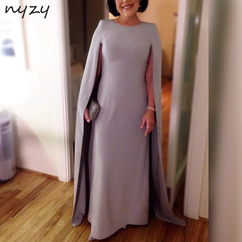 NYZY M57 Elegant Silver Long Mother Of The Bride Dresses With Cape Sleeves 2019 Wedding Party Evening Gowns Formal Dress