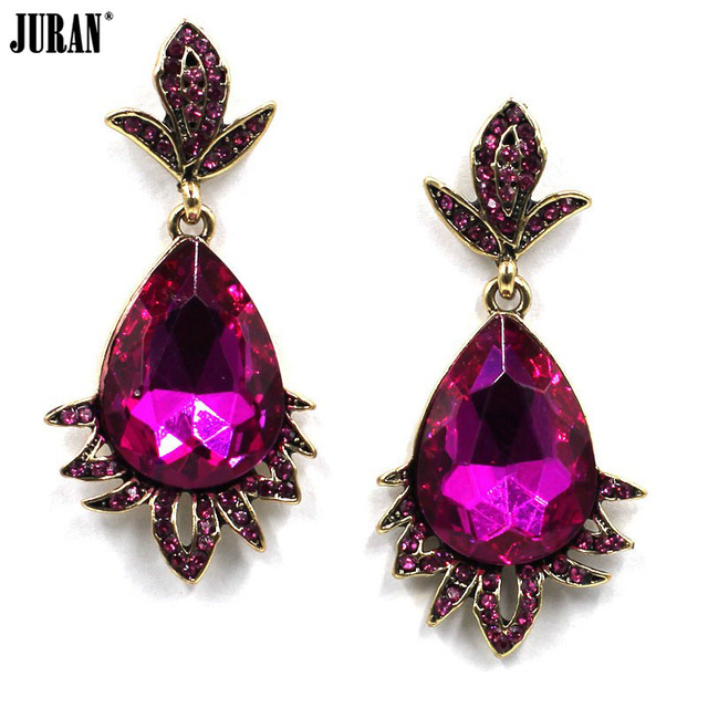 Juran Fashion Hot Pink Water Drop Crystal Dangle Earrings Women Luxury Evening Dress Party
