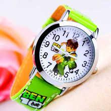 Gran oferta nueva moda lindo de dibujos animados de los niños Relojes para niños de deporte correa de cuero reloj de pulsera para regalo reloj Relojes