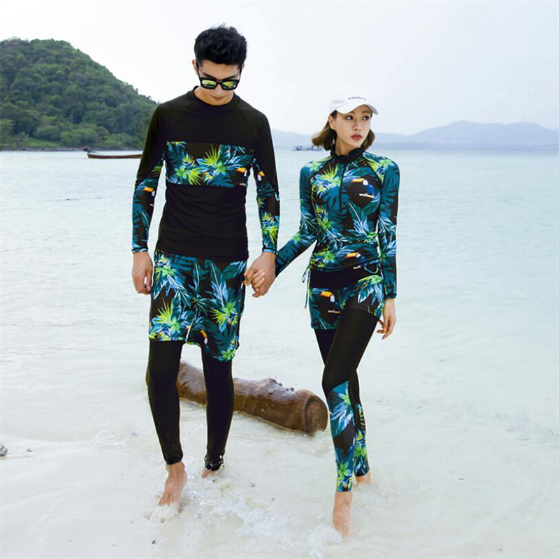 2019 Korean matching couple swim suit Men/Women rashguard diving surf wear for lovers long sleeve UV rash guard set plus size