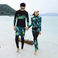 2019 Korean matching couple swim suit Men/Women rashguard diving surf wear for lovers long sleeve UV rash guard set plus size