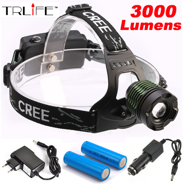 3000Lm CREE XM-L T6 LED Zoom HeadLight HeadLamp Zoomable Head lamp +2*18650 Battery +Power charger + Car charger