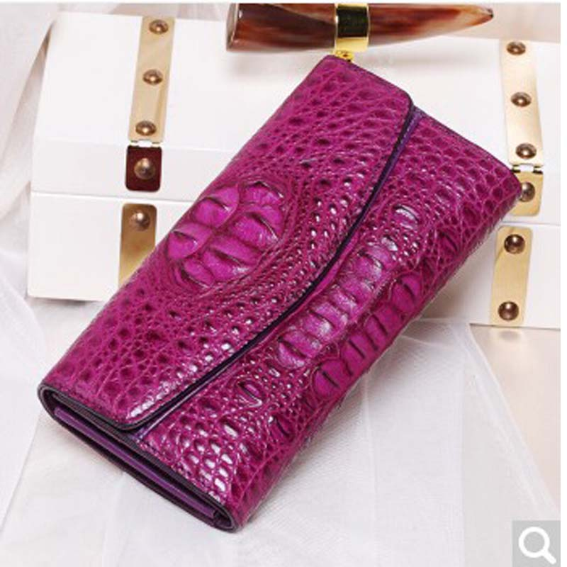 2018 BEV New alligator Lady women clutch bag European-American temperament dinner long-color hand grab leather purse head gete new python leather women handbag lady real snake dinner women purse large capacity grab bag girl women cluth bag wallet