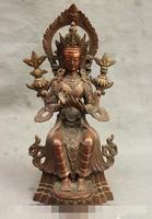 S3756 13 Tibet Buddhism Pure Bronze GuanYin Kwan Yin Maitreya Buddha Goddess Statue