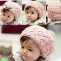 Los niños Calientes de Invierno Bola de pelo de Conejo Niño Sombrero Del Ganchillo Del Sombrero de Los Muchachos Regalo 3 Colores