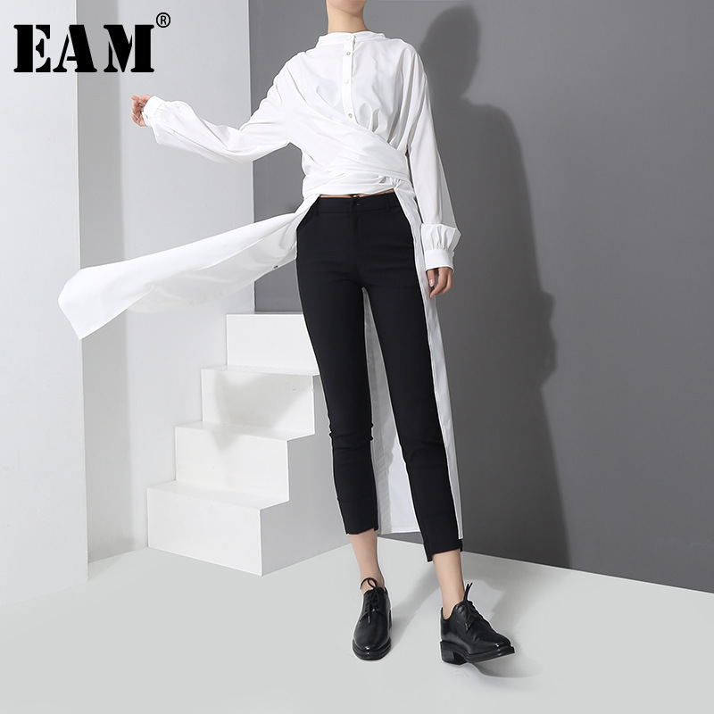 [EAM] 2019 Spring New Fashion New Long Type Side Vent Button Big Size Shirt Long Sleeve Temperament Long Blouse Women Tide YC1