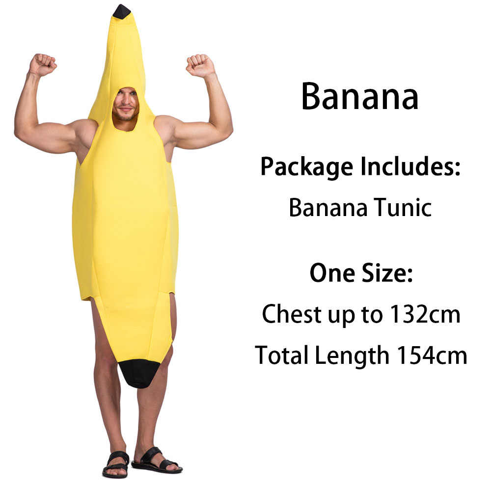 ddfda856a14e1 ... Adult Food Banana Costume Fruit Vegetable Family Funny Onesie Mascot  Costume Chili Pepper Peas in a ...