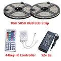 10M RGB Led Strip 5050 Waterproof IP20/65 60LED/M DC12V LED Strip Light 300 LEDs+44 Keys Remote Controller +12v 8a power