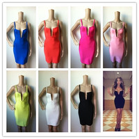 New 7 Candy Colors Hot Selling Women S HL Bandage Dress Sleeveless Sexy V Neck Mini