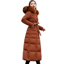 X-Long 2019 New Arrival Fashion Slim Women Winter Jacket Cotton Padded Warm Thicken Ladies Coat Long Coats Parka Womens Jackets cheap chu mark Casual zipper 114B2 Full Polyester Spray-bonded Wadding Thick (Winter) Broadcloth Solid 1 26KG Pockets Sashes