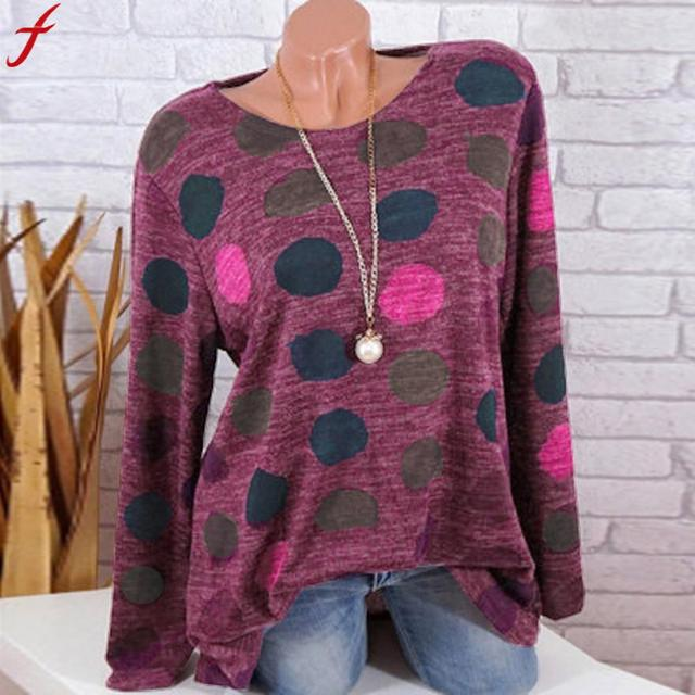 Plus Size Clothing Women Shirts Loose Round Neck Dot Print Tunic Tops Women Long Sleeve Round Neck Blouse blusas femininas